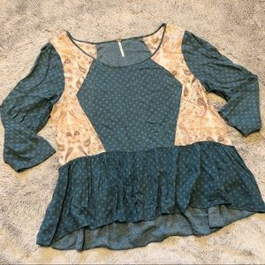 Free People Teal Patterned Peplum Blouse